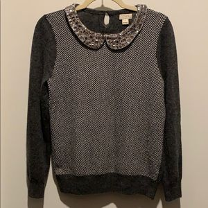 J.Crew Grey Knit Gem Filled Collared Sweater Sz S